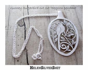 Sugarbird Pendant, Gurney Sugarbird Bird Necklace Pendant, Recycled eco friendly Spoon Pendant Jewelry, South African Gurney Sugarbird art