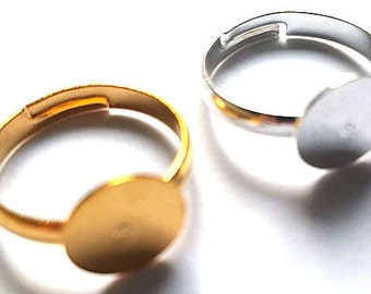 10 x Adjustable 17mm ring blanks for cabochon ring making with 10mm flat glue pad in adult size silver and gold