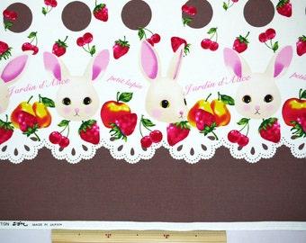 Rabbits and Fruits Design Fabric Brown Cotton Kobayashi Japanese Fabric - 110cm x 50cm