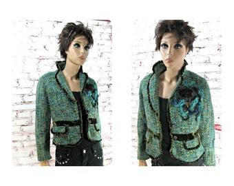 Fashion jacket, women's  blazer, cropped jacket ,  Blue jacket,  feminine clothing,  one of a kind jacket,  Size 4 ,   # 14