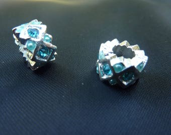 2 beads rhinestone charm 11mm silver and turquoise rhinestones