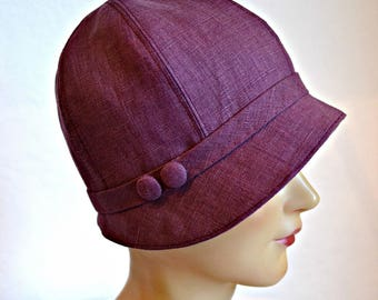 Cloche Hat - Women's Cloche Hat - 1920s Linen Cloche - Made to Order