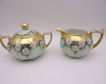 1880s Hand Painted Vintage Bavarian ZSC Zeh Scherzer & Co Creamer and Sugar Bowl White and Yellow Roses - Stunning