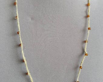 hemp and glass bead crochet necklace, 24 inches