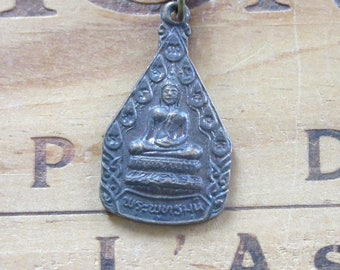 Vintage Brass Buddha Buddhist Necklace Pendant Necklace Zen Jewelry
