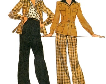 Butterick 3804 Vintage 1970s Daniel Hechter fitted jacket and wide-legged pants uncut sewing pattern