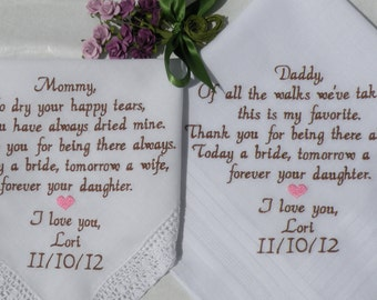 Personalized Embroidered Wedding Hankerchiefs Parents of the Bride or Groom Canyon Embroidery