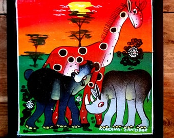 African Wildlife Oil Painting, Marangi Zanzibar, African Art, African Wildlife Painting, Zanzibar Art, Original Painting, Folk Art