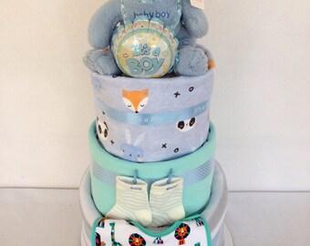Three tier baby boy nappy cake