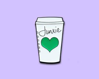 """Coffee Lover """"Junkie"""" Enamel Lapel Pin"""