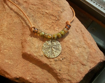 Dragonfly Choker Brass With Aged Picasso Beads On Leather