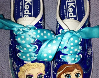 Girl's Custom Painted FROZEN Inspired Shoes Any Size DELUXE VERSION