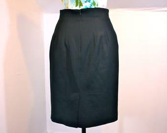 "Vintage Black Gabardine Wool Pencil Skirt 1980s USA Womens XS 27"" Waist"