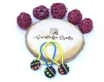 Set of 3 Dotty Fabric Covered Button Hair Elastics