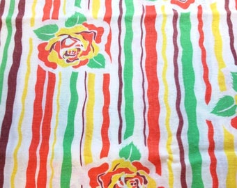 Vintage Feedsack Flour Sack Fabric 1930's 1940's Novelty Orange Yellow Roses Cotton Quilt Fat eighth Patchwork