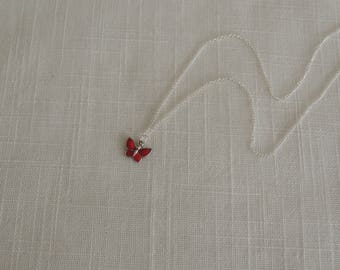 Necklace silver Sterling red painted Butterfly