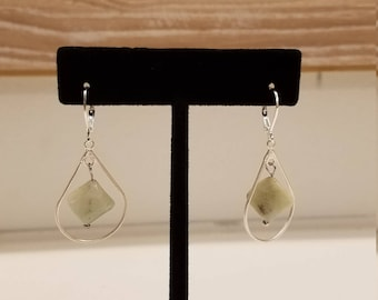 Silver Teardrop with Aquamarine Earrings