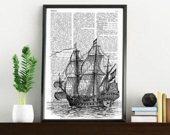 Book Print Old ship print Dictionary or Encyclopedia Page Book print Vintage Ship Print on Vintage Dictionary Book art SEA011