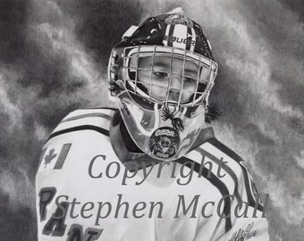 "Giclee fine art print from original ""Louksy"" pencil drawing, portrait drawings, hockey goalie, young boy, face, sports, hockey, kids sport"