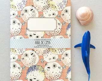 notebook journal - A5 -original cute pattern- blowfish