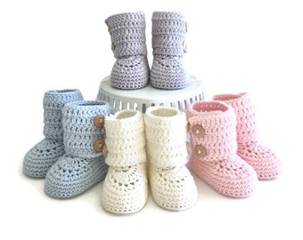Tall Button Cuff Baby Booties