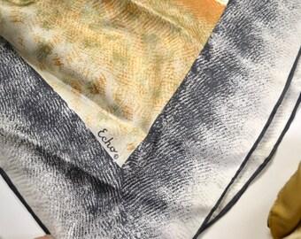 Vintage Silk Scarf Soft Gray and Orange 26 inch Sq