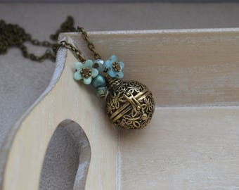Pregnancy's Bola, blue/green Czech glass and Crystal beads