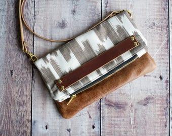 leather bag, leather handbags, crossbody purse, leather bag woman, shoulder bag, brown leather bag, foldover bag, boho bag, ikat handbag