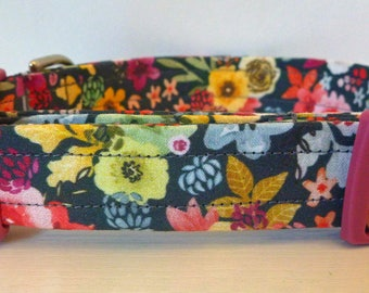 "Fall Floral Dog Collar - Girl Dog Collar - Multi Floral Dog Collar ""Hildie"" - Free Colored Buckles"