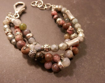 Handmade Braided Multistrand Semi Precious Rhodonite & Fancy Jasper Gemstones, Green Czech Glass and Antique Silver Bracelet