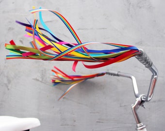 Streamers for your Bike, Trike, or Scooter Handlebars - Retro, Cool & Handmade - Rainbow Bright