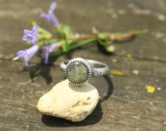 Size 6 - LABRADORITE STACK RING - Stamped Brave - Handmade - Sterling Silver - Gift For Her - Anxiety - Ready To Ship - Silver Ring