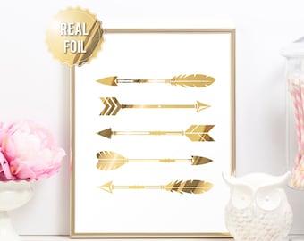 Gold Arrow Print - Tribal Print Real Gold Foil Art - Tribal Home Decor - Arrow Print - Real Gold Tribal Wall Art - Bedroom Decor Arrow Decor