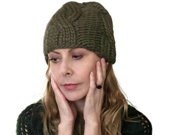 Chunky Cable Beanie chapeau Peyton épais Mans femmes chapeau d'hiver ajusté à la main tricot de laine vert taille M
