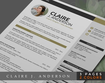 Professional Resume Template Word Format, 3 Pages Word Resume Design and Free Cover Letter in 2 Colors, Easy to Edit CV Template