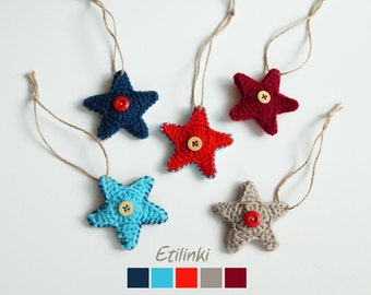 Set of stars ornaments USA Patriotic decor Independence Day 4th of July Gift Red blue crochet stars Hanging Christmas decoration Xmas tree