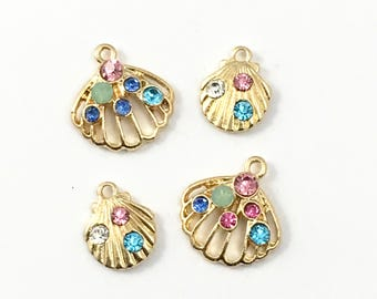 4 shell gold tone charms 25mm/ 28mm #CH 247