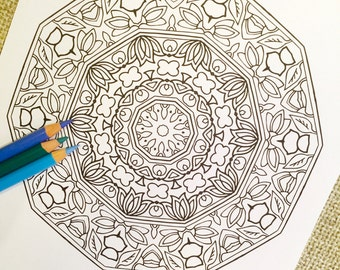 "Mandala ""Moirai"" - Hand Drawn Adult Coloring Page Print"