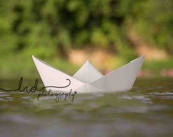 Digital Backdrop/Origami White Boat with Water Lilies/Newborn/Fantasy/Baby/Children/Photography/Prop
