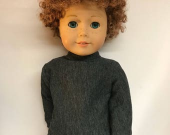 Charcoal gray mock turtleneck shirt 18 inch boy doll clothes 18 inch doll clothes