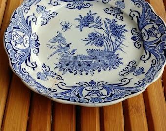 DELF blue plate decor garden-bird-manufacture Dutch