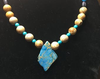 Turquoise Natural Stone Beaded Necklace, Pendant