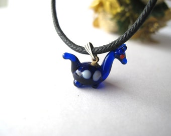 Mini Cobalt Blue Dinosaur Pendant