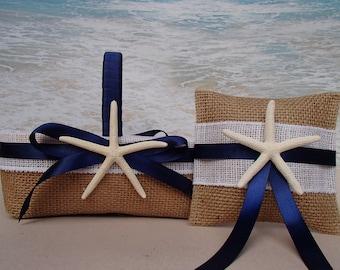 Starfish Basket & Pillow - Tropical Beach Wedding - Nautical Coastal - Hawaii  Burlap Shabby Chic