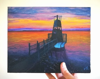 """Small landscape painting of sunset and lighthouse 8x10"""""""