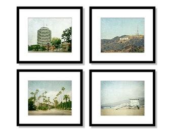 SALE, Los Angeles Print Set, California Photography, Hollywood, Malibu, Beverly Hills, LA Art, Beach Wall Art, Home Decor, Set of 4