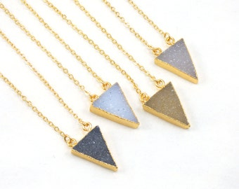 30% OFF JEWELRY SALE! Triangle Druzy Pendant Necklace, Druzy Necklace, Bridesmaid Gift, Natural Stone Necklace, Druzy Pendant Necklace