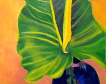 Beautiful still life painting:   Yellow Calla Lily