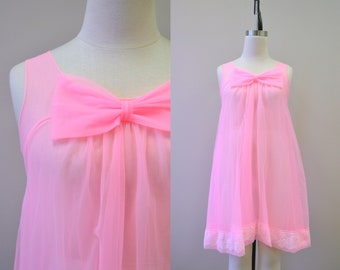 1960s Snowdon Bright Pink Chiffon Nightie
