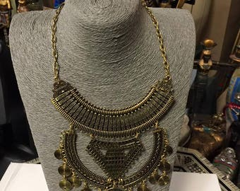 Egyptian (Tribal style) Brass Gold Plated Necklace set's   24'' L Made in Egypt